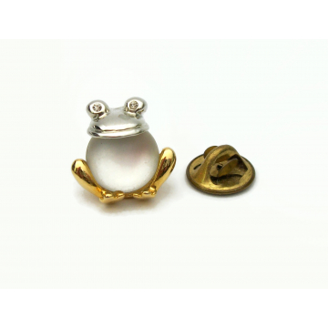 Vintage Clear Moonglow Jelly Belly Frog Pin Tie Tack Small Jewelry Lapel Pin