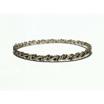 """Vintage Wavy Silver Tone Bangle Bracelet Thin Large 8 1/2"""" Bangle Women's Bangle Men's Unisex"""