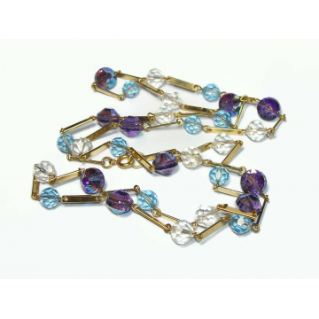 """Vintage Purple Blue and Clear Crystal Beaded Necklace with Gold Bar Link Chain Open Crystal Beads Long 34"""""""