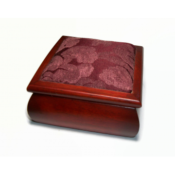 """Vintage 4""""x4"""" Wood Trinket Box Jewelry Box with Floral Padded Cushioned Top and Lined Interior Hinged Lid"""