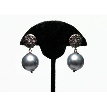 Vintage Silver Gray Ball Drop Clip on Earrings Chunky Bead Dangle Earrings Metallic Grey