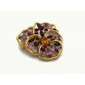 Vintage Signed Nolan Miller Pansy Brooch Floral Flower Pin Gold with Two Tone Purple Crystal Rhinestones