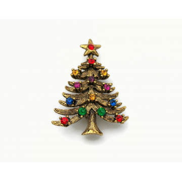Vintage Signed Eisenberg ICE Christmas Tree Brooch Lapel Pin Gold with Multicolored Crystal Rhinestones