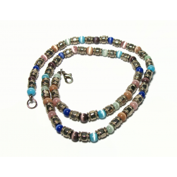 Vintage Cats Eye Beaded Necklace Silver and Multicolored Catseye Beads 21 inch Chain