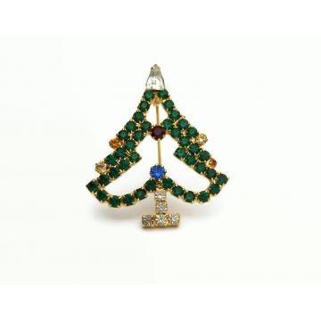Vintage Prong Set Emerald Green Crystal Rhinestone Christmas Tree Brooch Pin Openwork