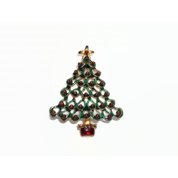 Vintage Green and Red Enamel Christmas Tree Brooch Pin Antiqued Gold