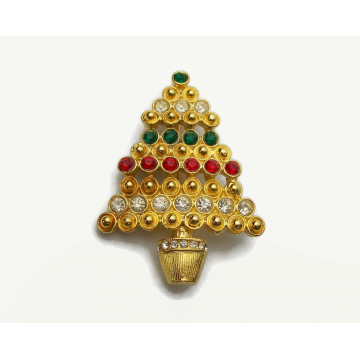 Vintage Rhinestone Christmas Tree Brooch Pin Gold with Green Red Clear Rhinestones