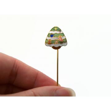 Vintage Cloisonne Enamel Christmas Tree Stick Pin Lapel Pin