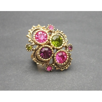 Vintage 1970s Sarah Coventry Austrian Lites Ring Gold Tone with Pink Green Purple Crystals Adjustable U.S. Size 6 7 8 Women's Ladies Woman