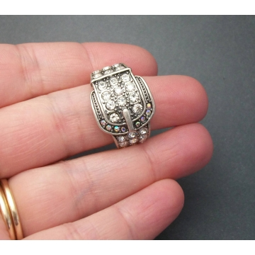 Vintage Silver Tone Buckle Ring with Clear and AB Crystals Crystal Rhinestones Size 7 1/4 Unisex Men's Women's Sparkly Country Western Ring