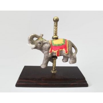 Vintage Hand Painted Porcelain Carousel Elephant with Brass Pole and Wood Base Carousel Animal Figurine Made in Taiwan