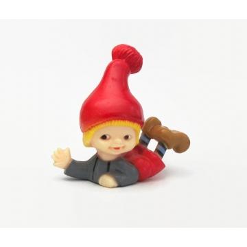 Vintage Hard Plastic Elf Figurine Made in Hong Kong Elf Gnome Sprite Dwarf in Red Hat Christmas Knick Knack 1980s