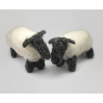 Primitive Needle Felted Sheep Pair of Black and White Sheep Needlefelt Fiber Art Animal Soft Sculptures Set of Two