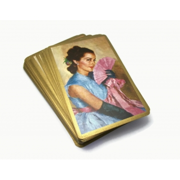 Vintage Congress Spanish Lady Woman with Lace Fan Playing Cards Gold Edge Standard Bridge Deck Complete with Two Jokers Collectible