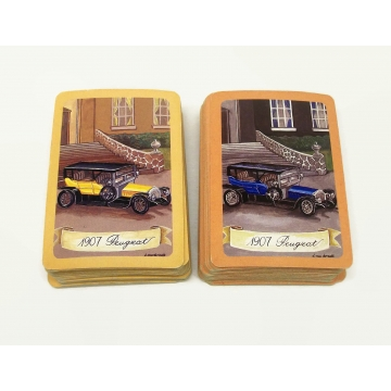 Vintage Peugeot Antique Car Playing Cards  Two Complete Decks with Three Jokers  1907 Peugeot Blue and Yellow  Made in Taiwan