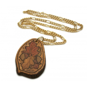Vintage Wood Burned Pendant Necklace Autumn Leaves and Acorns Wooden Hand Etched Engraved Wood Slice  Fall Jewelry 24 inch Gold Tone Chain