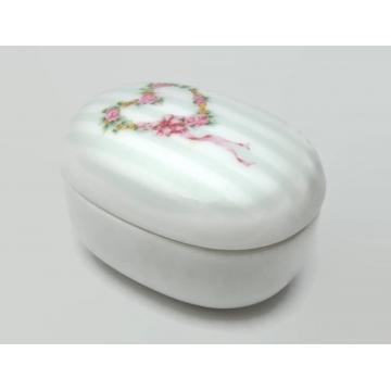 Vintage Otagiri Porcelain Trinket Ring Box Made in Japan Pink White Grey Stripes Flowers Roses Floral Heart Wreath Keepsake Box