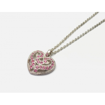 """Vintage Silver and Pink Rhinestone Heart Shaped Pendant Necklace 16"""" Chain"""