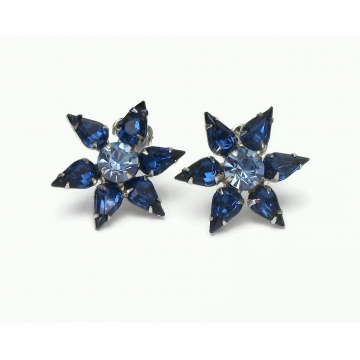 Vintage Sapphire and Aquamarine Blue Crystal Star Clip on Earrings Rhinestone Floral Formal Jewelry March December Birthstone
