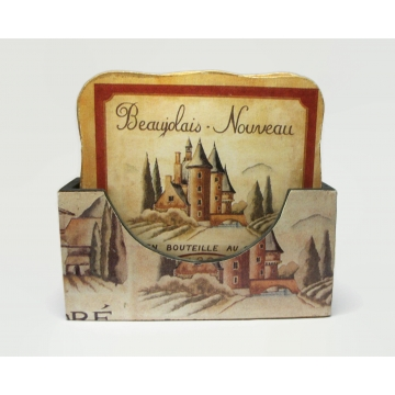 Vintage French Wine Themed Coaster Set of Six 6 Bordeaux Red Wine French Vineyards