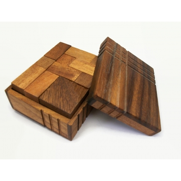 Vintage Wood Box of Puzzle Blocks Wooden Puzzle Toy Game Home Decor