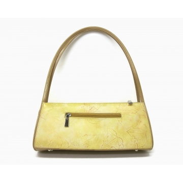 Vintage Autumn Leaf Print Yellow and Tan Handbag  Vinyl Faux Leather Top Handle Purse Shoulder Bag   Lightweight Sturdy   Zipper Pockets