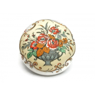 Vintage Sandford Fine Bone China Trinket Box Made in England Floral Flower Bouquet & Vase Design Small White Porcelain Round Box