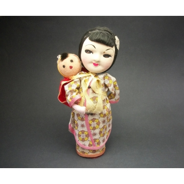 Vintage Asian Woman and Child Doll Mother and Baby Folk Art Doll with Hand Painted Face