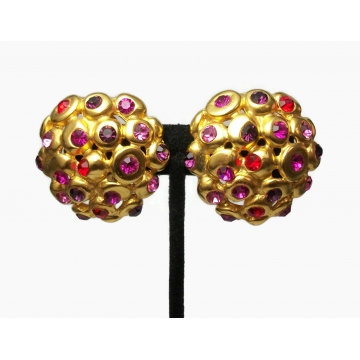 Vintage Signed Ben Amun 24K Gold Plated Huge Statement Clip on Earrings Big Gold Domes Red and Purple Crystals Designer Avant Garde Jewelry