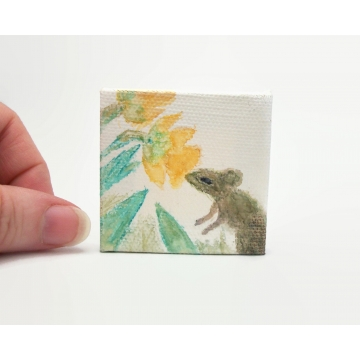 "Small Pencil and Watercolor Painting of Mouse with Flowers Daffodils 2"" x 2"" Miniature Art Painting with Wood Easel"