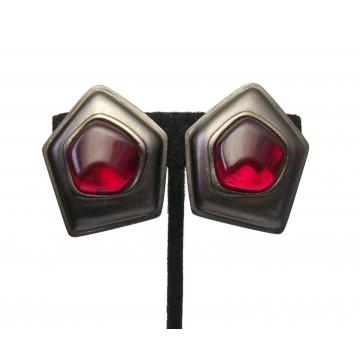 Vintage Signed Yves Saint Laurent Clip on Earrings Big Gunmetal Red Gripoix Glass Clip Ons Designer Jewelry Brutalist Large Runway YSL