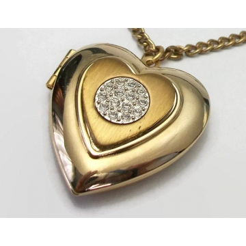Vintage Heart Shaped Locket Pendant Necklace Gold Tone Silver Tone Mixed Metals with Clear Rhinestone Accents 18 inch Chain