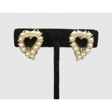 Vintage Pearl Heart Shaped Clip on Earrings Openwork Heart Gold Tone with Faux Pearls