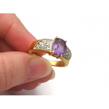 Vintage Purple Faux Amethyst Ring with Gold Tone & Silver Tone Band Clear Rhinestone Accents Size 8 3/4 to 9 Mixed Metal February Birthstone
