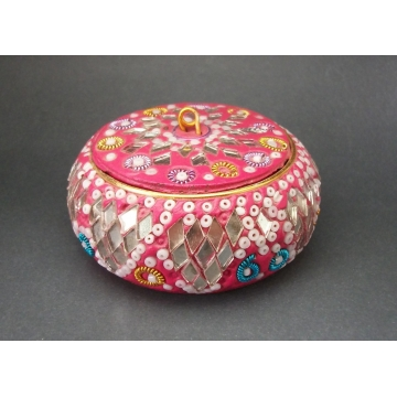 Vintage Pink Cut Mirrored Glass and Bead Trinket Box Made in India  Ornate Round Pink Ring Box Lidded Small Keepsake Box  1980s or older