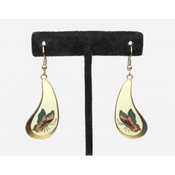 Vintage Cloisonne Enamel Butterfly Drop Earrings Dangle Hook Earrings Gold Tone with Cream Enamel and Rose Pink Teal and Purple Cloisonne