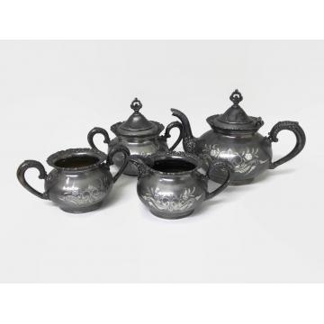 Antique Late 1800s Van Bergh Quadruple Silver Plate Tea Service Set Teapot Sugar Bowl Creamer Waste Bowl Tarnished Etched Silver Victorian