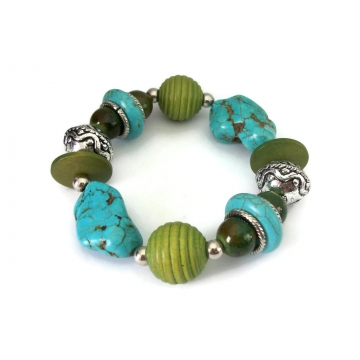 Chunky Green and Faux Turquoise Stone Beaded Stretch Bracelet Elastic Bangle Blue Howlite Nuggets Silver Tone & Green Wood Beads