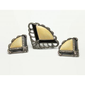 Vintage Marcasite Silver Tone Filigree and Cream & Black Enamel Fan Brooch and Pierced Earrings Set Avon 1989 Art Deco Style Jewelry