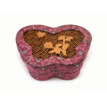 Vintage Butterfly Shaped Brocade and Wood Inlay Trinket Box  Small Plum Purple Butterfly Keepsake Box Small Jewelry Storage Box