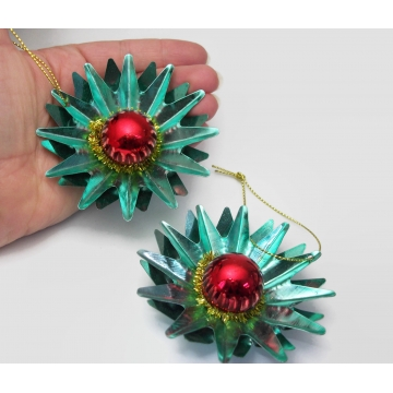 Vintage Tin Metal Star Ornaments Christmas Decor Teal Blue and Red 3D Starbursts 3 inch diameter Set of Two