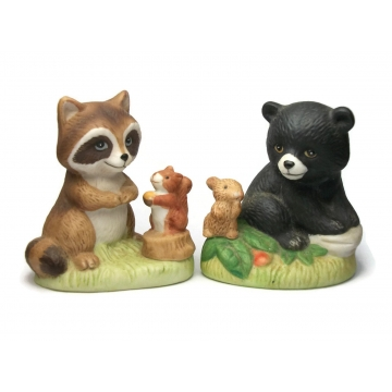 Vintage Homco Ceramic Animal Figurines Set of Two 2, Raccoon and Squirrel, Bear Cub and Bunny Rabbit, Cute Porcelain Woodland Creatures