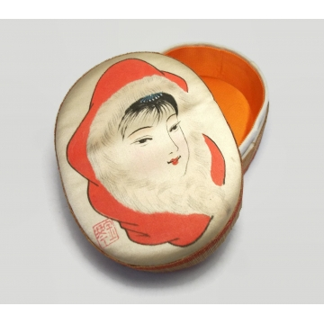 Vintage Asian Silk and Bamboo Trinket Box with Orange Liner Interior   Asian Woman  Woman's Face on Lid    Early 1980s Trinket Box