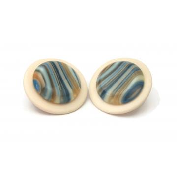 Vintage Huge 1980s Round Cream and Blue Striped Earrings Chunky Lucite Disc 80s Theme Party Statement Jewelry Big Post Stud Pierced Earrings
