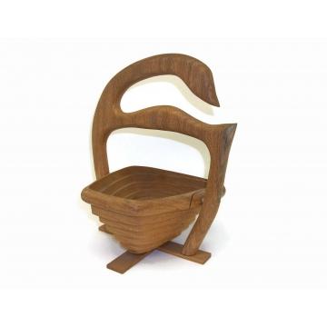 Vintage Solid Oak Wood Collapsible Basket Duck Goose Swan Shaped Wooden Trivet Basket Compact Foldable Rustic Wedding Home Kitchen Decor