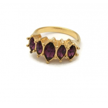 Vintage 1990s Avon Faux Amethyst Ring Gold Tone with Purple Crystals Rhinestones Size 6 1/2 February Birthstone Jewelry Marquis Sparkle
