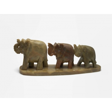 Vintage Hand Carved Stone Elephants in a Row Figurine Paperweight