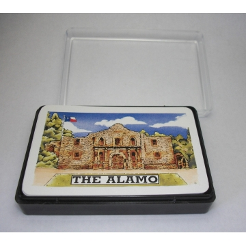 Vintage The Alamo Playing Cards Standard Bridge Deck with Plastic Case Made in Hong Kong Texas Revolution Battle of the Alamo Souvenir