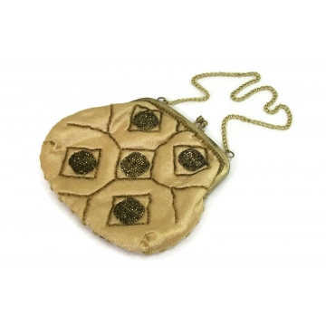 Vintage Gold Beaded Evening Purse Clutch Handbag  Chain Link Strap  Metallic Thread Accents  Made in Hong Kong  Kiss Lock  Satin Lining
