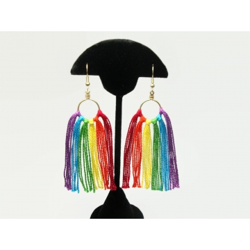 Rainbow Tassel Fringe Earrings for Pierced Ears Long Rainbow Colored Hoop Dangle Earrings Gold Tone Hooks Festival LGBTQ LGBT Gay Pride